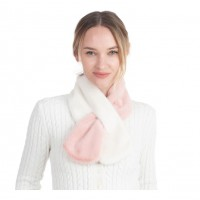 Gorgeous Luxe Pink White Faux Fur Scarf