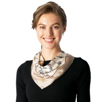 Taupe Keys Chain Silk Square Neckerchief Scarf