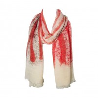 Watermelon Pink Splash Print Modal Long Scarf