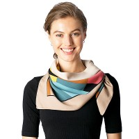 Multi Color Blue Modern Art Square Scarf