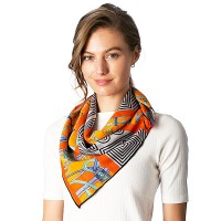 ORANGE BLACK GEOMETRIC MODERN ART SQUARE SCARF