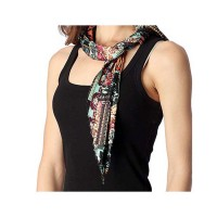 Crinkle Pleated Black Multi-Pink Floral Skinny Scarf