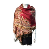 Red Paisley Metallic Pashmina Silk Scarf Shawl Wrap