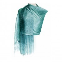 Ritzy Sparkling Turquoise Blue Fringe Scarf