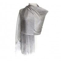 Ritzy and Sparkling Silver Fringe Scarf