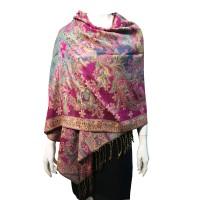 Pink Flora Metallic Pashmina Silk Scarf Shawl Wrap