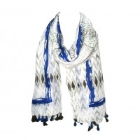 Blue Abstract Pattern Tassel Scarf