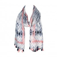 Pink Navy Blue Abstract Pattern Tassel Scarf