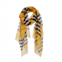 Classic Mustard Yellow Check Plaid Print Scarf