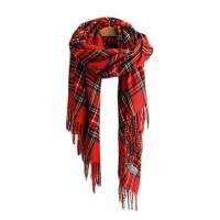 Vibrant Red Plaid Scarf Shawl Wrap