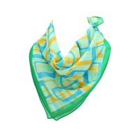MODERN MULTI GREEN BLUE ORANGE GEOMETRIC SQUARE SILK SCARF
