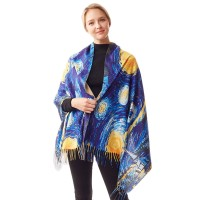 The Starry Night By Vincent Van Gogh Painting Printed Long Scarf