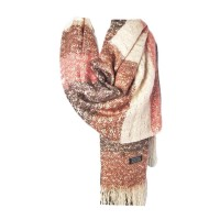 Brown Blush Pink Gray Stripe Weave Knit Fringe Scarf