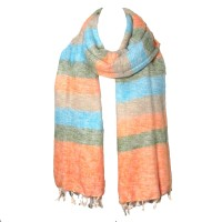 Multi Peach Turquoise Color Band Handloom Nepal Wool Scarf Shawl