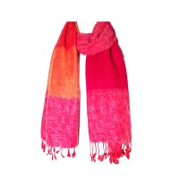 Multi Orange Color Band Handloom Nepalese Wool Scarf Shawl