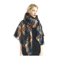 Multi Orange Tartan Blanket Scarf Shawl Wrap