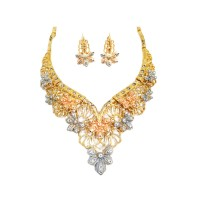 Romantic Gold Floral Crystal Statement Necklace Bracelet Earrings Ring Set