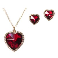 Romantic Red Rhinestone Heart Pendant Necklace Set