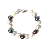 Tri Color Of Cream Grey Fresh Water Pearl Bracelet