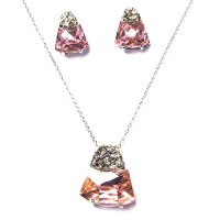 Dazzling Pink Crystal Pendant Silver Necklace Earring Set