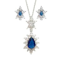 Blue Quartz CZ Silver Pendant Earring Set