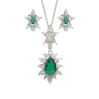 Green Quartz CZ Silver Pendant Earring Set