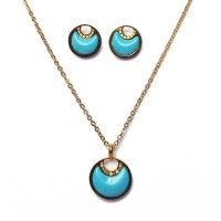 Gold Plated Silver Turquoise Pendant Earrings Set