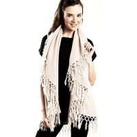 Versatile Cream Tasseled Cape Wrap Vest Shawl