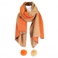 Luxurious Oversized Orange Camel Cashmere Feel Pom Pom Scarf Shawl Wrap
