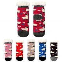 Lovely Lamb Pattern Fleece Lined Kids Slipper Socks