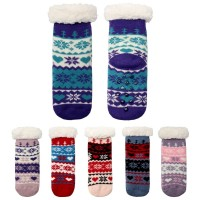 Nordic Pattern Fleece Lined Kids Slipper Socks