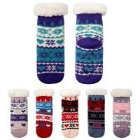 Nordic Pattern Fleece Lined Kids Slipper Socks