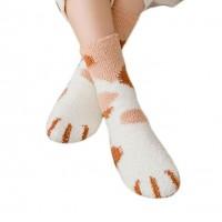 Brown Tan Spots Kitty Cat Print Plush Socks