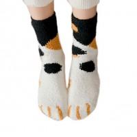 Mustard Black Spots Kitty Cat Print Plush Socks