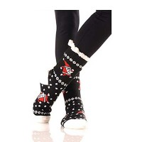Dancing Santa Sherpa Lined Black Slipper Socks