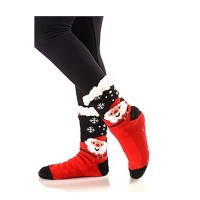 Snowflake Santa Sherpa Fleece Lined Slipper Socks