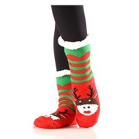 Stripe Reindeer Sherpa Fleece Lined Slipper Socks