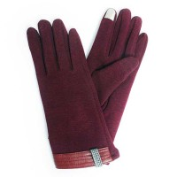 CLASSY BURGUNDY  KNIT LEATHER TRIM HOUNDSTOOTH GLOVES