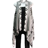 Black and White Geometric Print Sleeveless Sweater Tunic