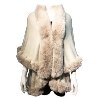 LUXURIOUS BEIGE FAUX FUR TRIM PONCHO CAPE WRAP