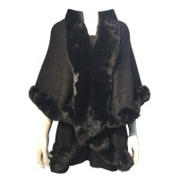 LUXURIOUS BLACK FAUX FUR TRIM PONCHO CAPE WRAP