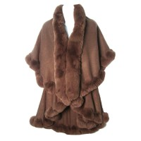LUXURIOUS TAUPE FAUX FUR TRIM PONCHO CAPE WRAP