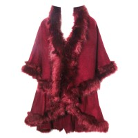 LUXURIOUS BURGUNDY FAUX FUR TRIM PONCHO CAPE WRAP