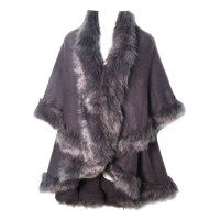 LUXURIOUS GRAY FAUX FUR TRIM PONCHO CAPE WRAP