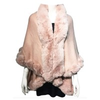 LUXURIOUS PINK FAUX FUR TRIM PONCHO CAPE WRAP