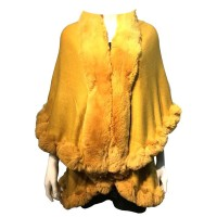 LUXURIOUS YELLOW FAUX FUR TRIM PONCHO CAPE WRAP