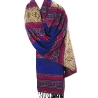 TIGERSTARS TIBETAN HANDLOOM 100% WOOL PURPLE BLUE PAISLEY HEARTS SCARF  SHAWL WRAP