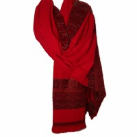 TIGERSTARS TIBETAN HANDLOOM 100% WOOL RED PAISLEY SCARF  SHAWL WRAP