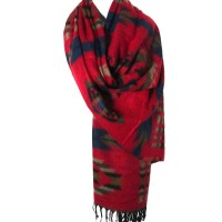 Tigerstars Tibetan Handloom 100% Wool Red Geometric Scarf Shawl Wrap